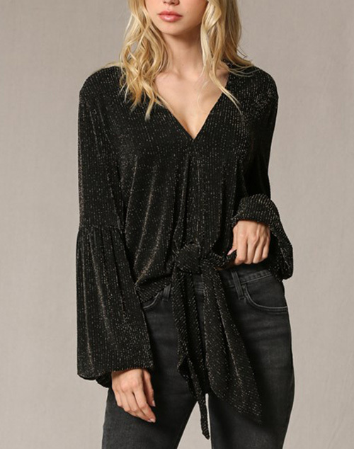 Lurex Long Sleeve Front Tie Top