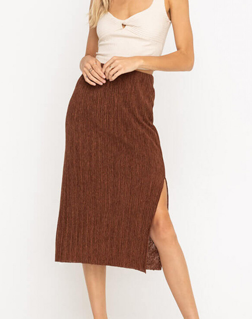 Plise Midi Side Slit Skirt