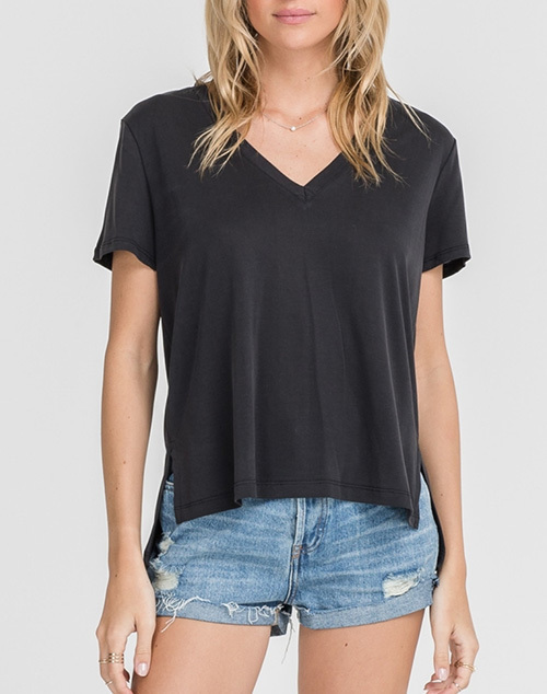 V Neck Short Sleeve Side Slit T-Shirt