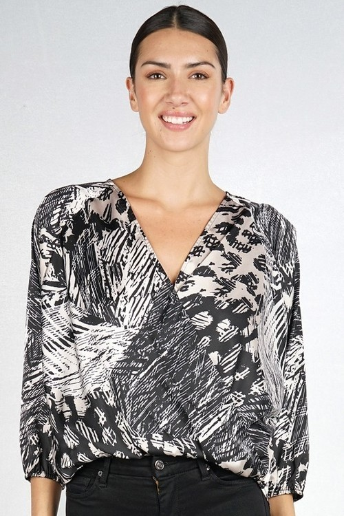 Printed Raglan Sleeve Surplice Top