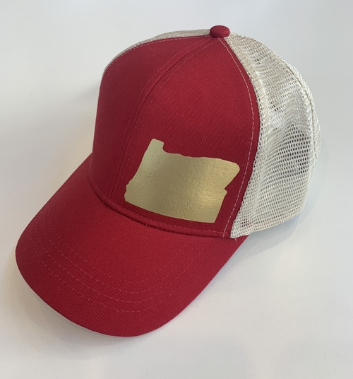 Hank Orange Red Hat w/ Gold Matte