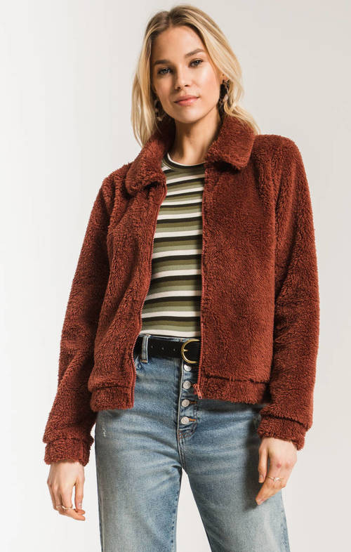 The Mesa Red Sherpa Crop Jacket