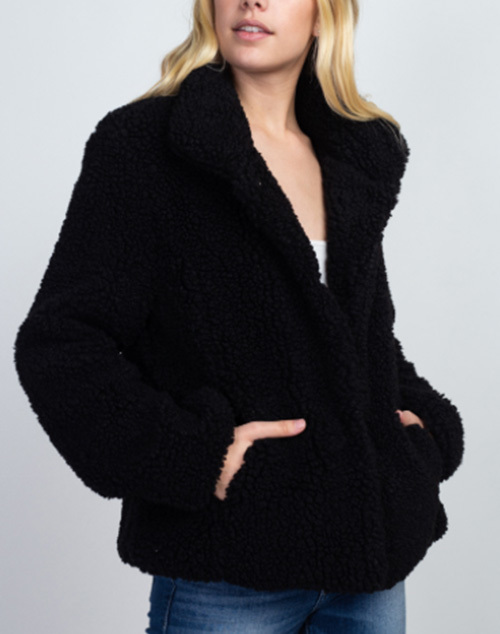 Long Sleeve Fuzzy Sweater Jacket