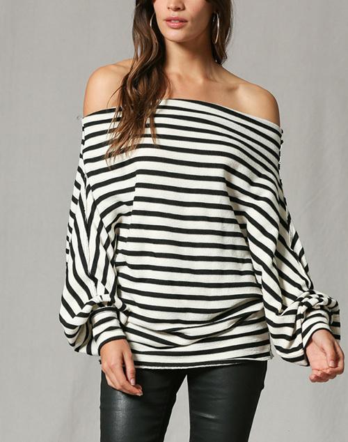 Stripe Off Shoulder Long Sleeve Top