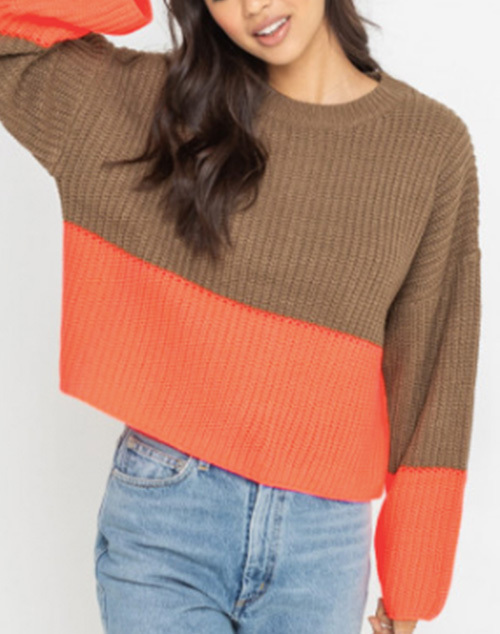 Color Block Knit Cropped Sweater