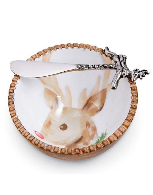 Reindeer Wood Dip Bowl Set