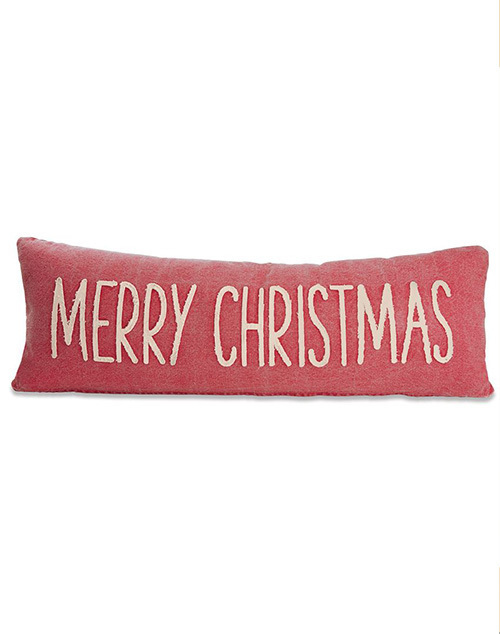 Merry Christmas Washed Canves Pillow