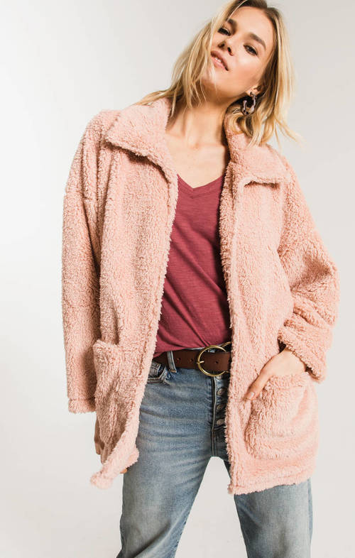 The Misty Rose Sherpa Teddy Bear Coat