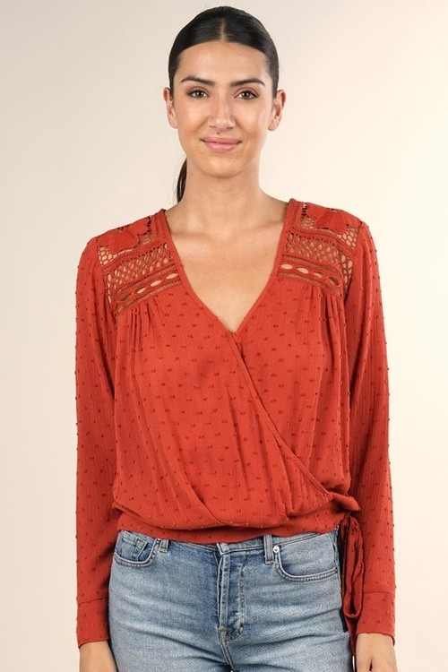 Crochet Yoke Faux Wrap Top