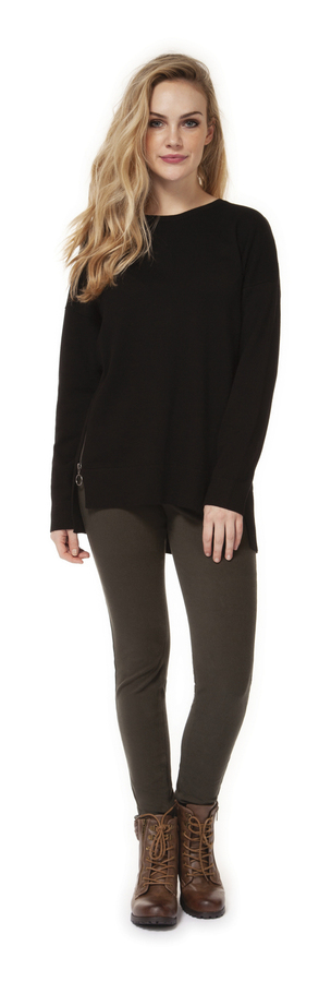 Finola Black Scoop Neck Sweater
