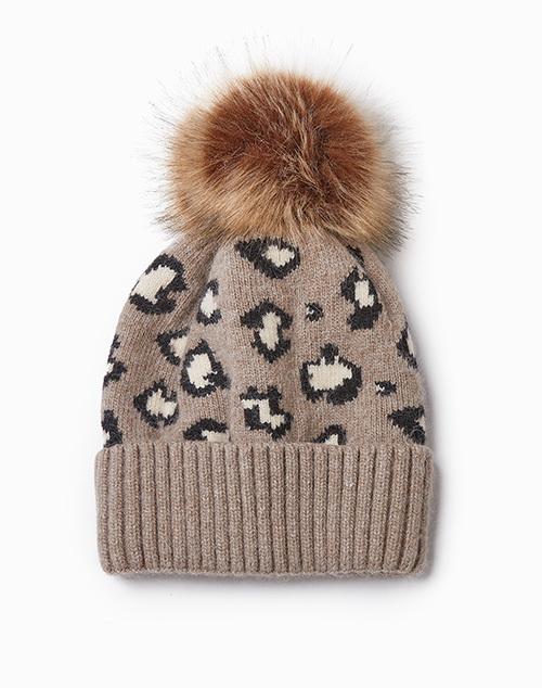 Cashmere Blended Leopard Hat
