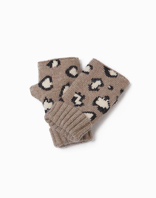 Cashmere Blended Leopard Fingerless Gloves