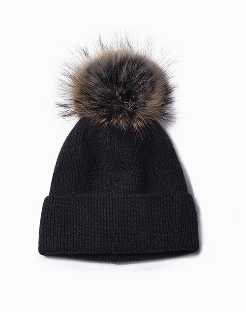 Cashmere Blended Ribbed Knit Beanie With Pom Black