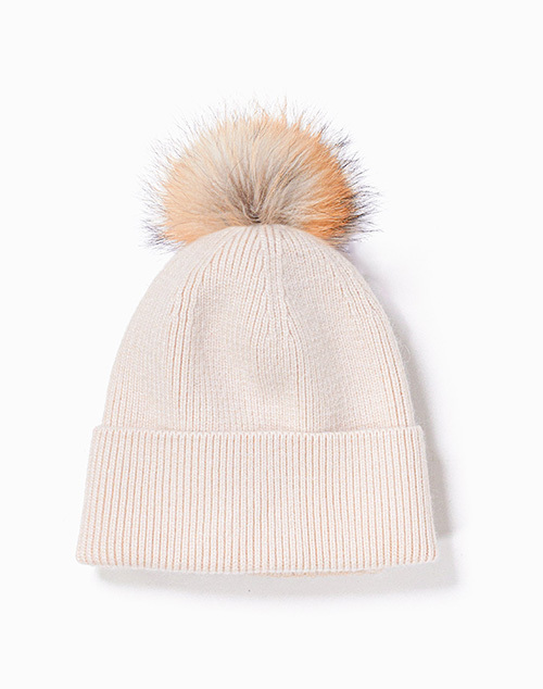 Cashmere Blended Ribbed Knit Beanie With Pom Ivory