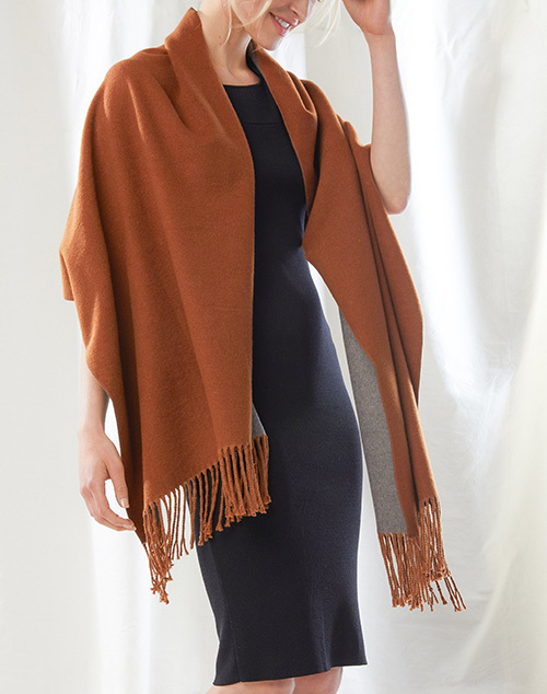 Two Tone Cashmere Blend Scarf Amber