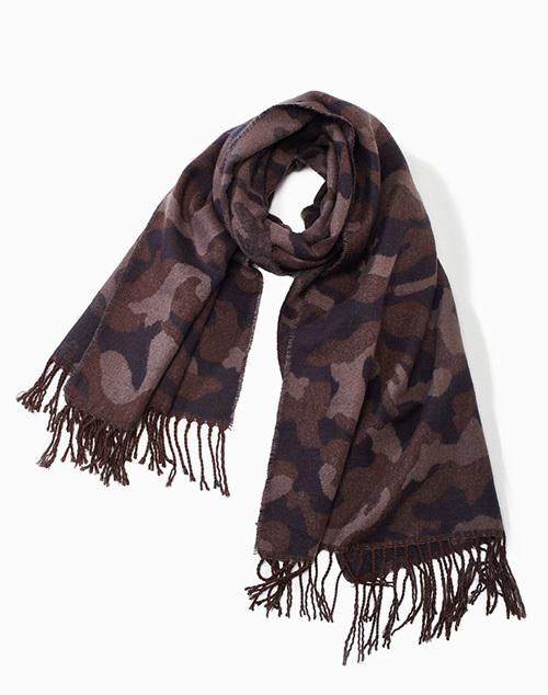 Camouflage Fringe Scarf Khaki