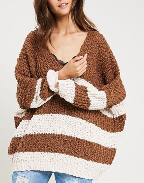 V Neck Striped Sweater Loose Fit