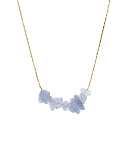 Rock Candy Blue Lace Agate Necklace 18K Plated