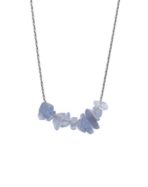 Rock Candy Blue Lace Agate Necklace Sterling