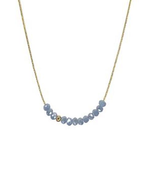 Sprinkle Of Stormy Ocean Grey Blue Necklace 18K Plated