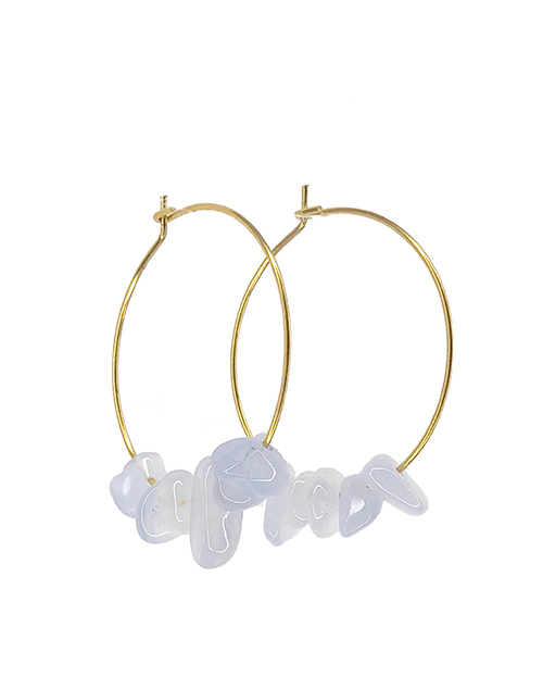 Rock Candy Blue Lace Agate Hoops 18K Plated