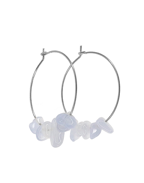 Rock Candy Blue Lace Agate Hoops Sterling