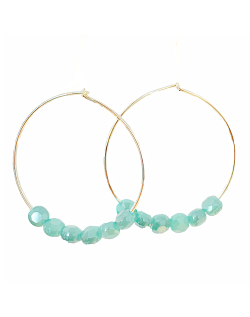 Glimmer Turquoise Hoops - 18K Plated