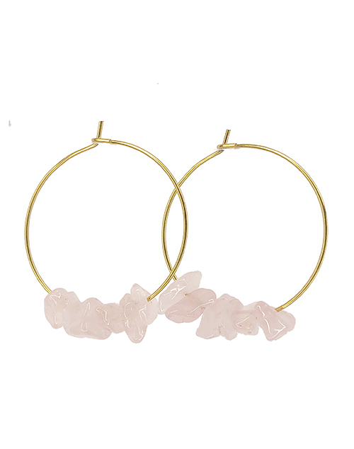 Rock Candy Rose Quartz Hoops 18K Plated