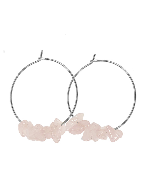 Rock Candy Rose Quartz Hoops Sterling