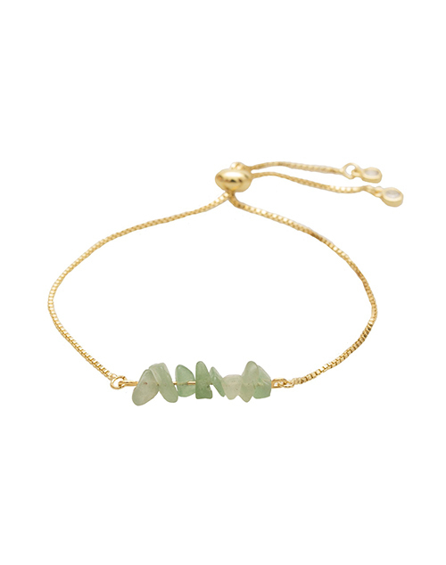Rock Candy Green Jade Bolo Bracelet 18K Plated