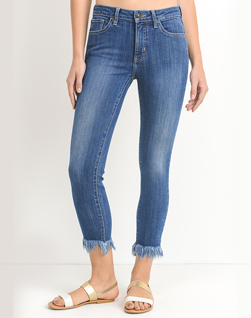Crop Skinny With Fringe Hem Denim