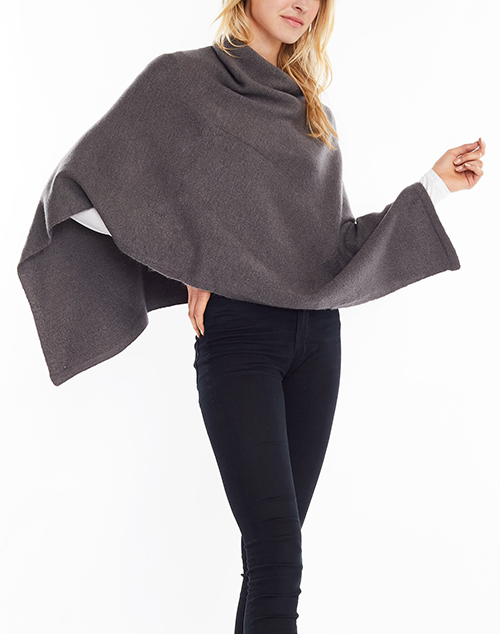 Basic Cashmere Blend Poncho Charcoal