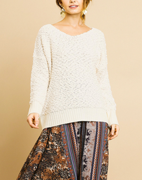Long Sleeve Soft Knit Sweater With Rib Hem