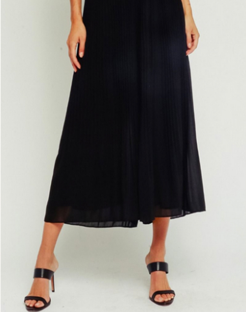Pleated Wide Leg Cropped Pant