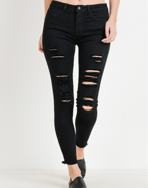 Distressed Skinny With Fray Denim