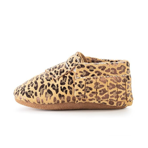 Leopard Genuine Lather Baby Moccasins