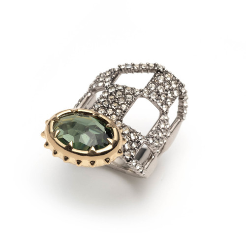 Pave Checkerboard Georgian Stone Ring