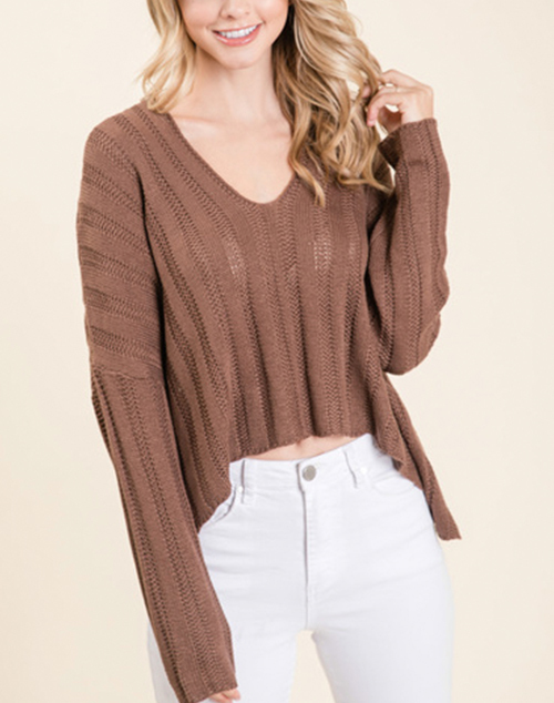 Woven Long Sleeve Crop Sweater