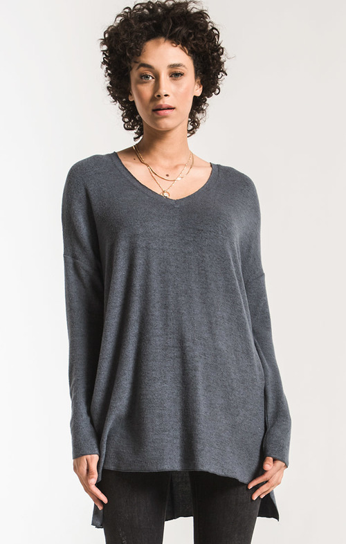 The Storm Grey Marled Sweater Knit V Neck Tunic