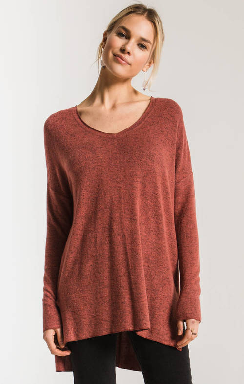 The Mesa Red Marled Sweater Knit V Neck Tunic