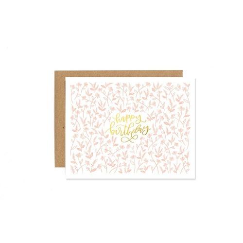 Tiny Floral Birthday Letterpress Card
