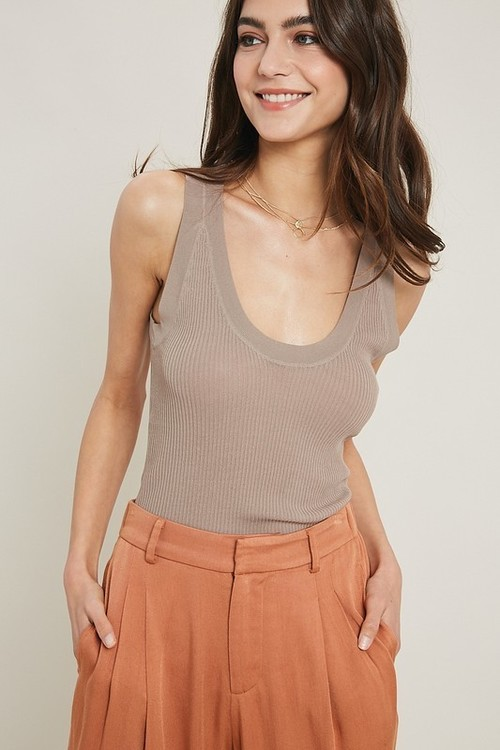 Wishlist Ribbed Tank Mocha