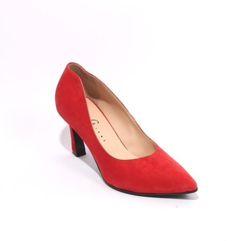 Red Suede Leather Pointy Toe Classic Heel Pumps