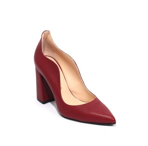 Burgundy Leather Pointy Toe Classic Heel Pumps