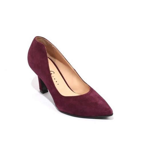 Burgundy Suede Leather Pointy Classic Heel Pumps