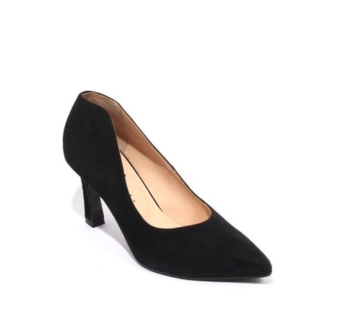 Black Suede Leather Pointy Toe Classic Heel Pumps