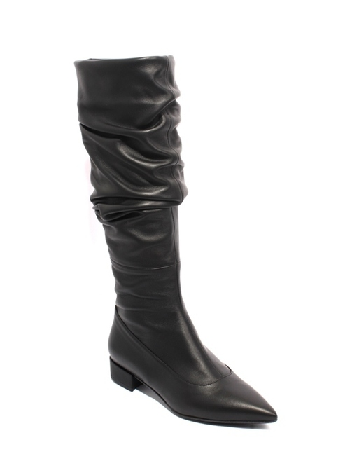 Black Leather Slouchy Pointy Toe Boots