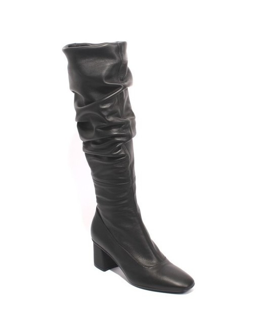 Black Leather Slouchy Square Toe Heel Boots