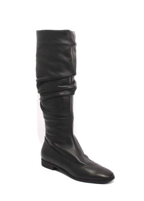 Black Leather Slouchy Square Toe Boots