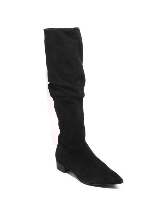 Black Suede Leather Slouchy Pointy Toe Boots